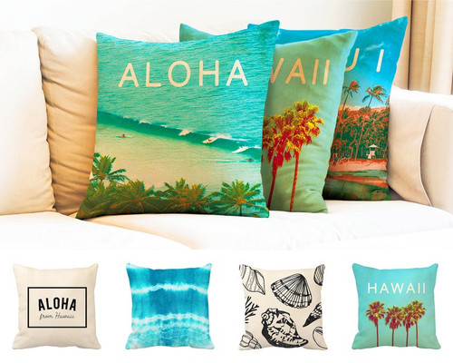 Aloha From Hawaii Pillow Cover - Natural