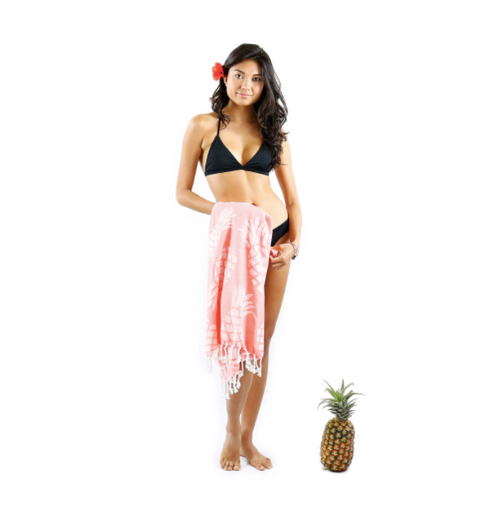 Pineapple Beach Blanket - Coral