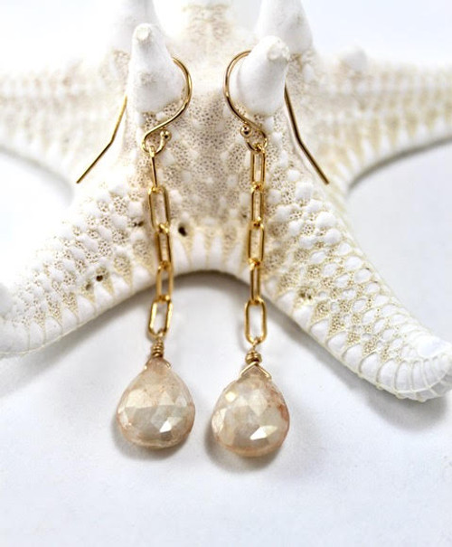 White Corundum Drop Earrings
