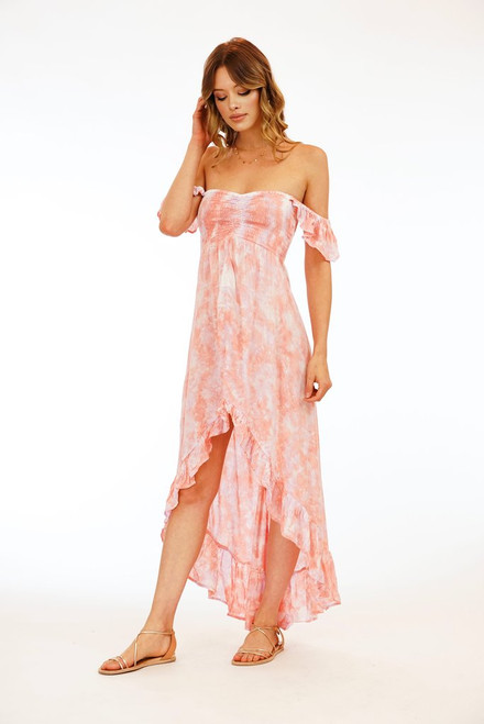 Brooklyn Dress in Peach Violet Smoke