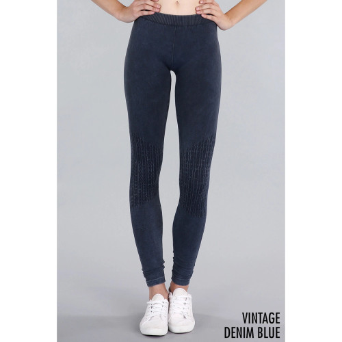 Knee Shirring Long Leggings