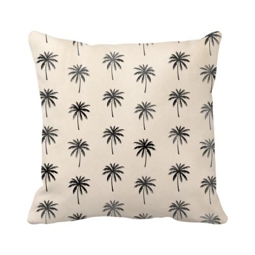 Palm Tree Pillow Cover - Natural