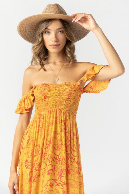 Hollie Long Dress in Batik Bloom Saffron Red