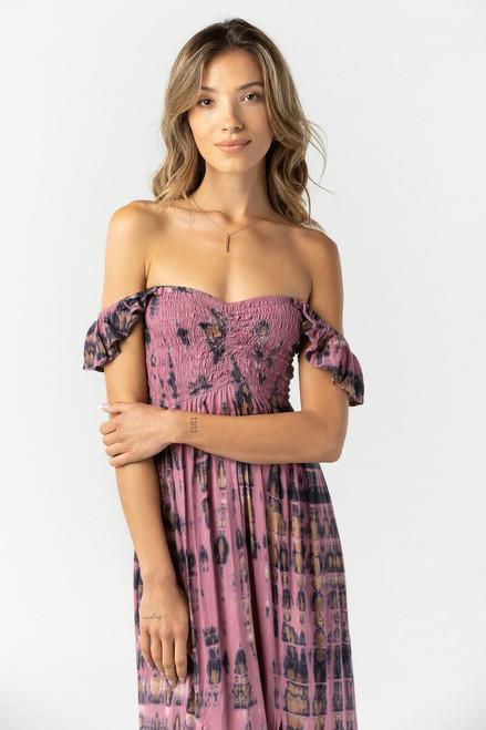 Hollie Long Dress in Leo Warm Rose Stone