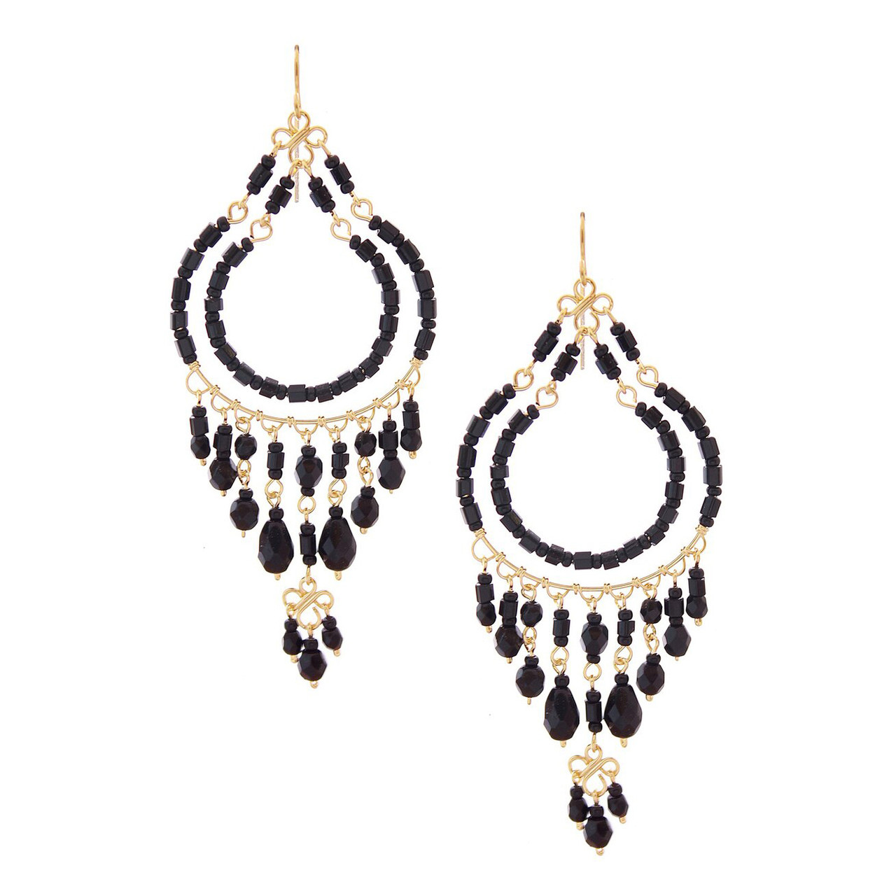 1c16443f5b4249 Handmade Bohemian Gold Plated Double Hoop Chandelier Earrings / CLE G B96-14