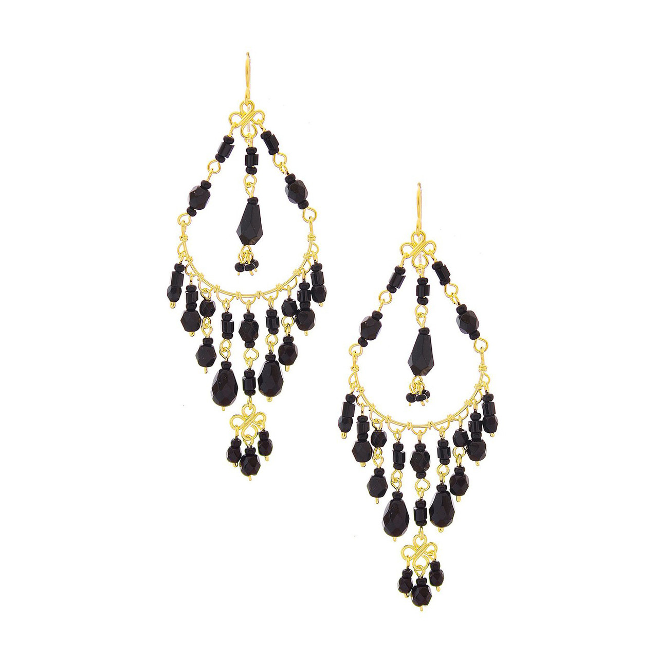 819c02627565c1 Handmade Seed Beaded Gold Plated Chandelier Earrings / CAE G B9-14 ...