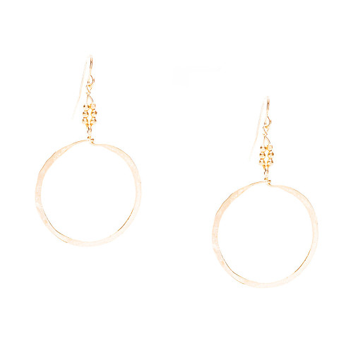 """Golden Age Earrings - Gold plated 2 1/2"""" inches dangling hammered hoop earrings."""