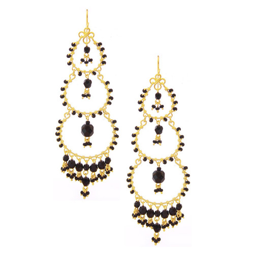 661ecebc10d52e Handmade Bohemian Beaded Gold plated Chandelier Earrings / CAE G B13-14
