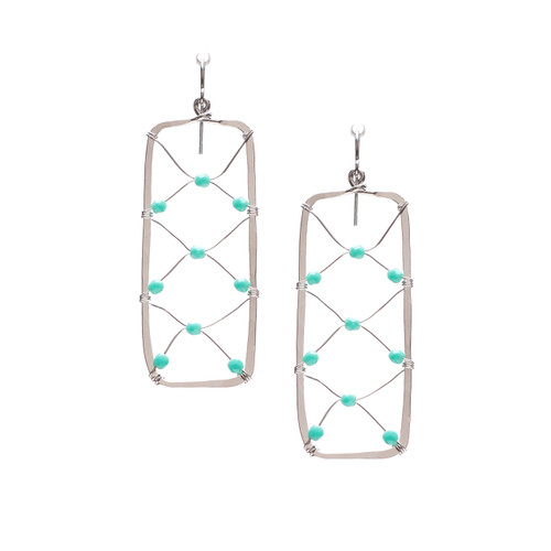 Hammered Silver Plated Bohemian Rectangular Wire Wrapped Beaded Turquoise Bead Earrings, Handmade / GAE S B197-1