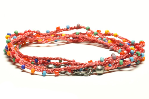 """32"""" braided coral silk thread necklace with orange 2-cut hex and matte multi-color seed beads and silver plated clasp"""