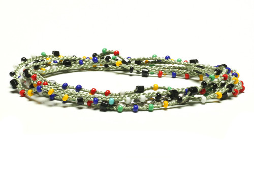 """32"""" braided light green silk thread necklace with black 2-cut hex, multi-color seed beads and silver plated clasp"""