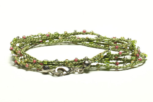 """32"""" braided green silk thread necklace with transparent pink and clear seed beads and silver plated clasp"""