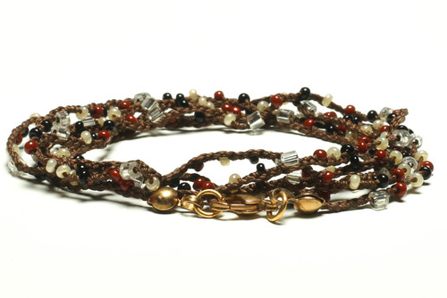 """32"""" braided chestnut brown silk thread necklace with clear 2-cut hex, blood red, pearl and black seed beads and gold plated clasp"""