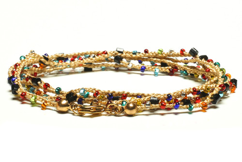 """32"""" braided gold silk thread necklace with black 2-cut hex, transparent multi-color seed beads and gold plated clasp"""