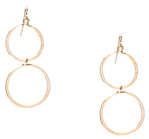 Golden age hammered double circle drop earring with gold plate finish. Surgical steel earwire.