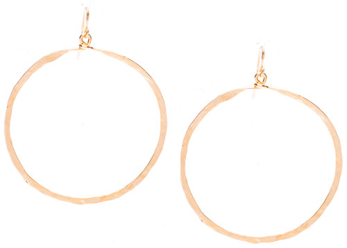 Golden Age hammered hoop earring with gold plate finish. Surgical steel earwire.