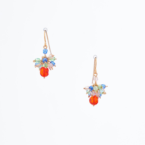 Handmade Celestial Crystal Wire-wrapped Gold-Plated Earrings / WFE B60-MWF5