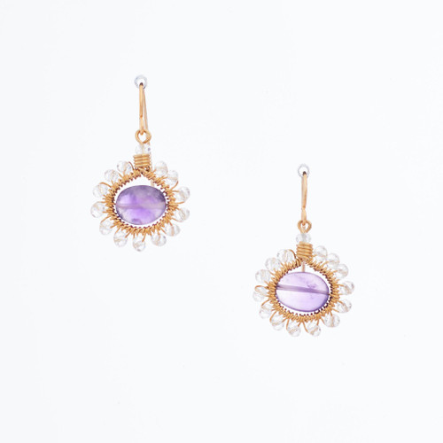 Handmade Celestial Crystal Wire-wrapped Gold-Plated Earrings / WFE B51-DL8