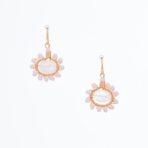 Handmade Celestial Crystal Wire-wrapped Gold-Plated Earrings / WFE B50-28