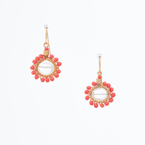 Handmade Celestial Crystal Wire-wrapped Gold-Plated Earrings / WFE B51-D14