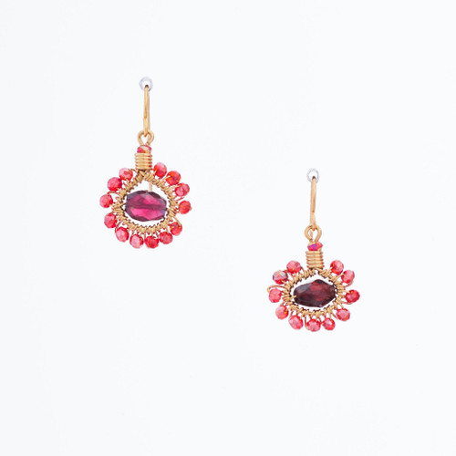Handmade Celestial Crystal Wire-wrapped Gold-Plated Earrings / WFE B51-D2
