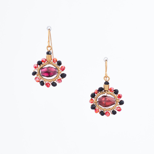 Handmade Celestial Crystal Wire-wrapped Gold-Plated Earrings / WFE B52-M2