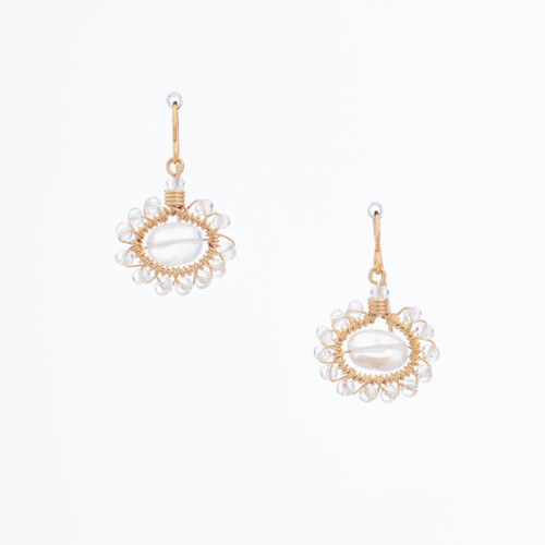 Handmade Celestial Crystal Wire-wrapped Gold-Plated Earrings / WFE B50-14