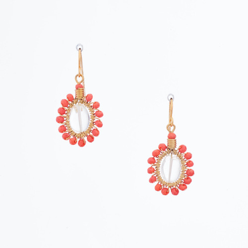 Handmade Celestial Crystal Wire-wrapped Gold-Plated Earrings / WFE B54-D14