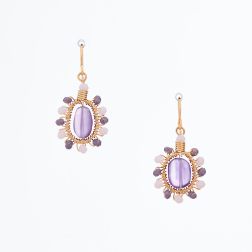Handmade Celestial Crystal Wire-wrapped Gold-Plated Earrings / WFE B58-MWF3
