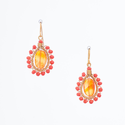 Handmade Celestial Crystal Wire-wrapped Gold-Plated Earrings / WFE B54-DL11