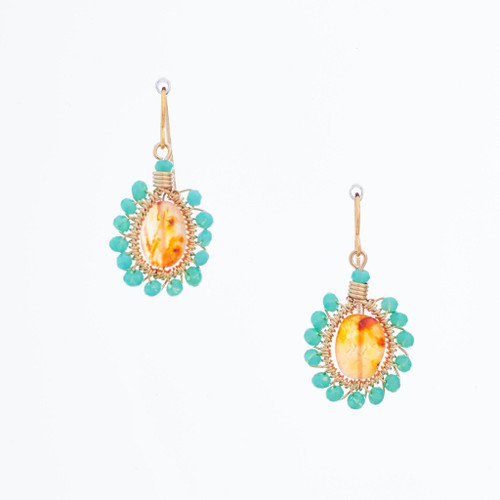 Handmade Celestial Crystal Wire-wrapped Gold-Plated Earrings / WFE B54-D11