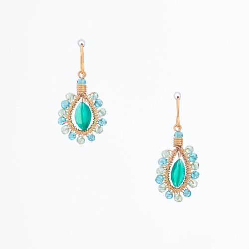 Handmade Celestial Crystal Wire-wrapped Gold-Plated Earrings / WFE B55-M24