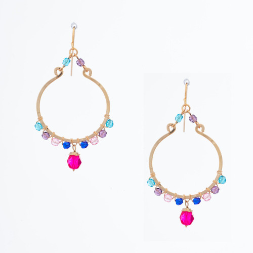 Handmade Celestial Crystal Wire-wrapped Gold-Plated Earrings / WFE B68-MWF14