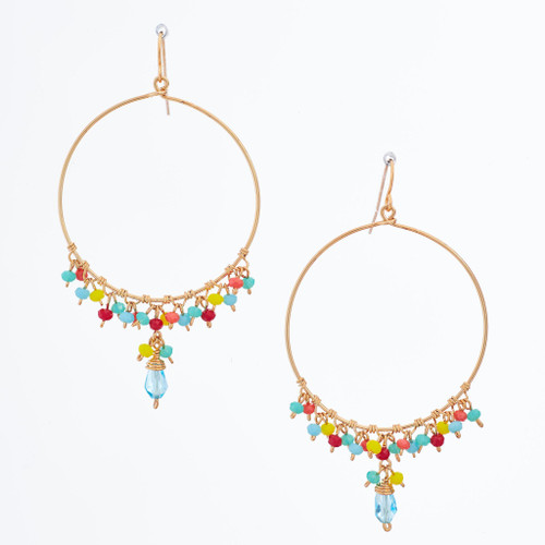 Handmade Celestial Crystal Wire-wrapped Gold-Plated Earrings / WFE B73-MWF19