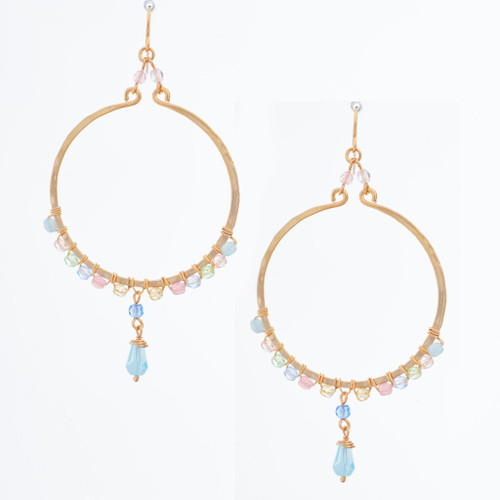 Handmade Celestial Crystal Wire-wrapped Gold-Plated Earrings / WFE B69-MWF15