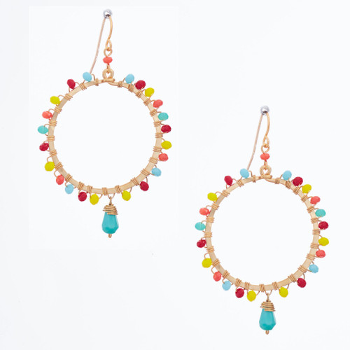 Handmade Celestial Crystal Wire-wrapped Gold-Plated Earrings / WFE B72-MWF18