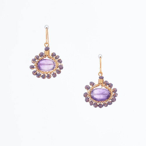 Handmade Celestial Crystal Wire-wrapped Gold-Plated Earrings / WFE B51-D8