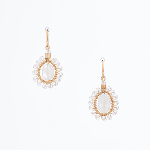 Handmade Celestial Crystal Wire-wrapped Gold-Plated Earrings / WFE B53-13