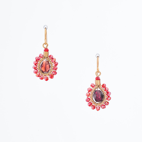 Handmade Celestial Crystal Wire-wrapped Gold-Plated Earrings / WFE B54-D2