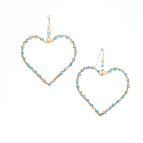 Hammered, Bohemian, Gold-plated, Beaded, Wire Wrapped Heart Earrings, Handmade / GAE G B737-83