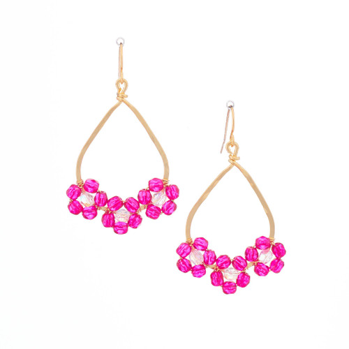 Hawaiian Flower Colorful Crystal Wire-wrapped Gold-Plated Earrings / HFE G B27-M1