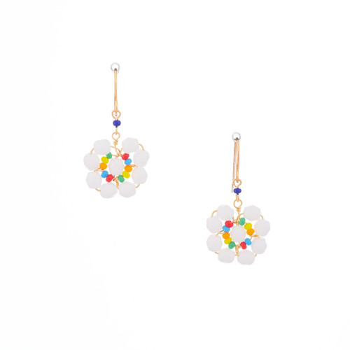 Hawaiian Flower Colorful Crystal Wire-wrapped Gold-Plated Earrings / HFE G B12-M1