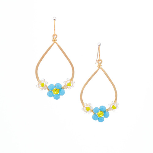 Hawaiian Flower Colorful Crystal Wire-wrapped Gold-Plated Earrings / HFE G B25-M1