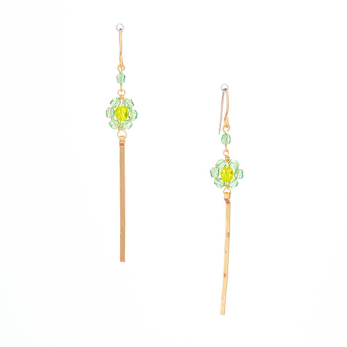 Hawaiian Flower Colorful Crystal Wire-wrapped Gold-Plated Earrings / HFE G B33-M1