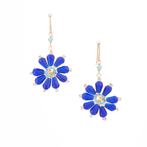 Hawaiian Flower Colorful Crystal Wire-wrapped Gold-Plated Earrings / HFE G B15-M1