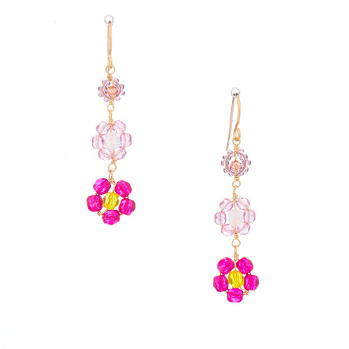 Hawaiian Flower Colorful Crystal Wire-wrapped Gold-Plated Earrings / HFE G B22-M1