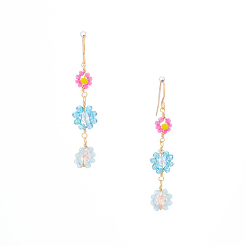 Hawaiian Flower Colorful Crystal Wire-wrapped Gold-Plated Earrings / HFE G B21-M1