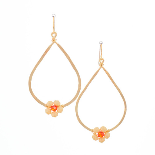 Hawaiian Flower Colorful Crystal Wire-wrapped Gold-Plated Earrings / HFE G B28-M1