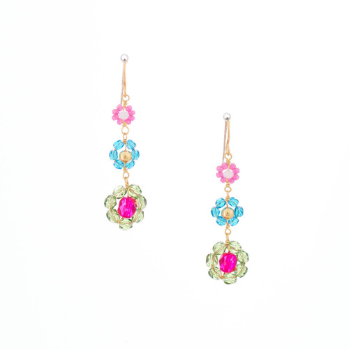 Hawaiian Flower Colorful Crystal Wire-wrapped Gold-Plated Earrings / HFE G B23-M1