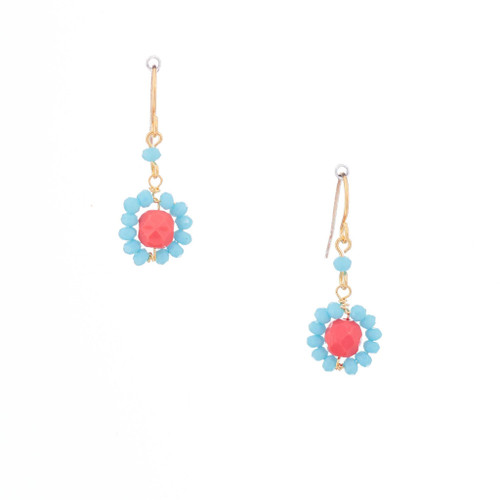 Hawaiian Flower Colorful Crystal Wire-wrapped Gold-Plated Earrings / HFE G B9-M1